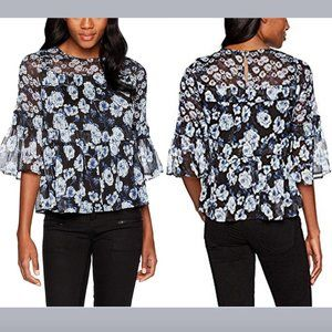 Lucky Brand Mixed Floral Peasant Chiffon Blouse